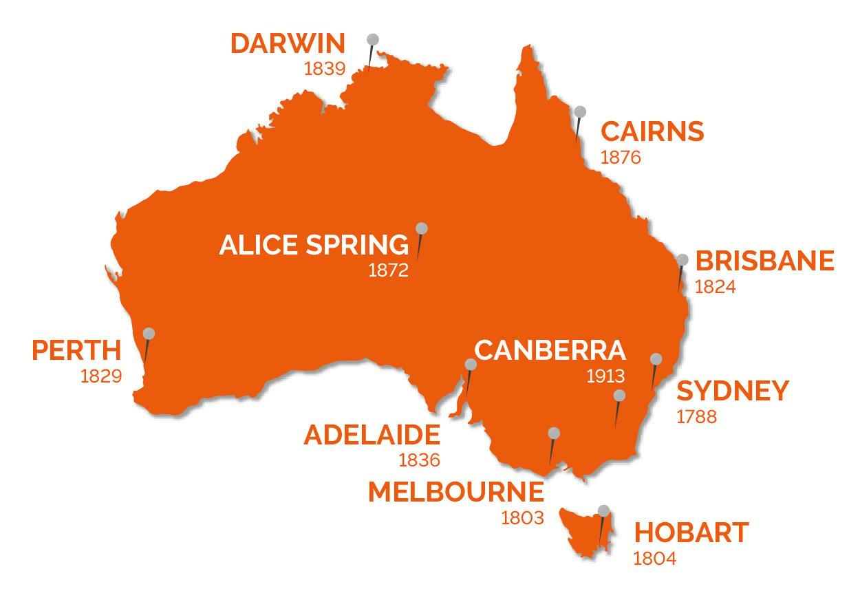 Mappa: Fondazione delle città australiane
