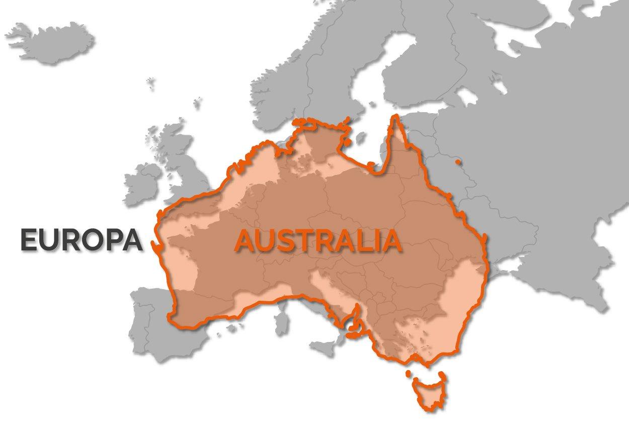 Mappa: Australia vs Europa