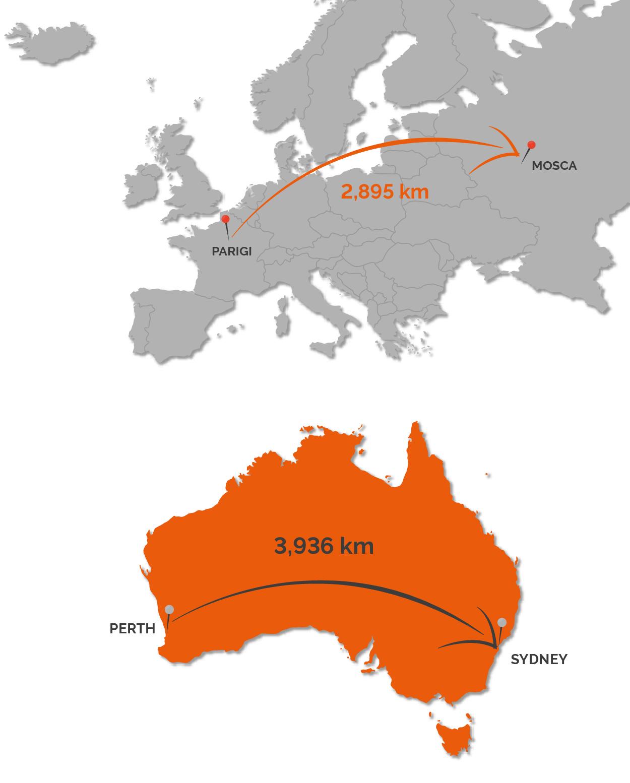 Mappa: Perth-Sydney vs Parigi-Mosca