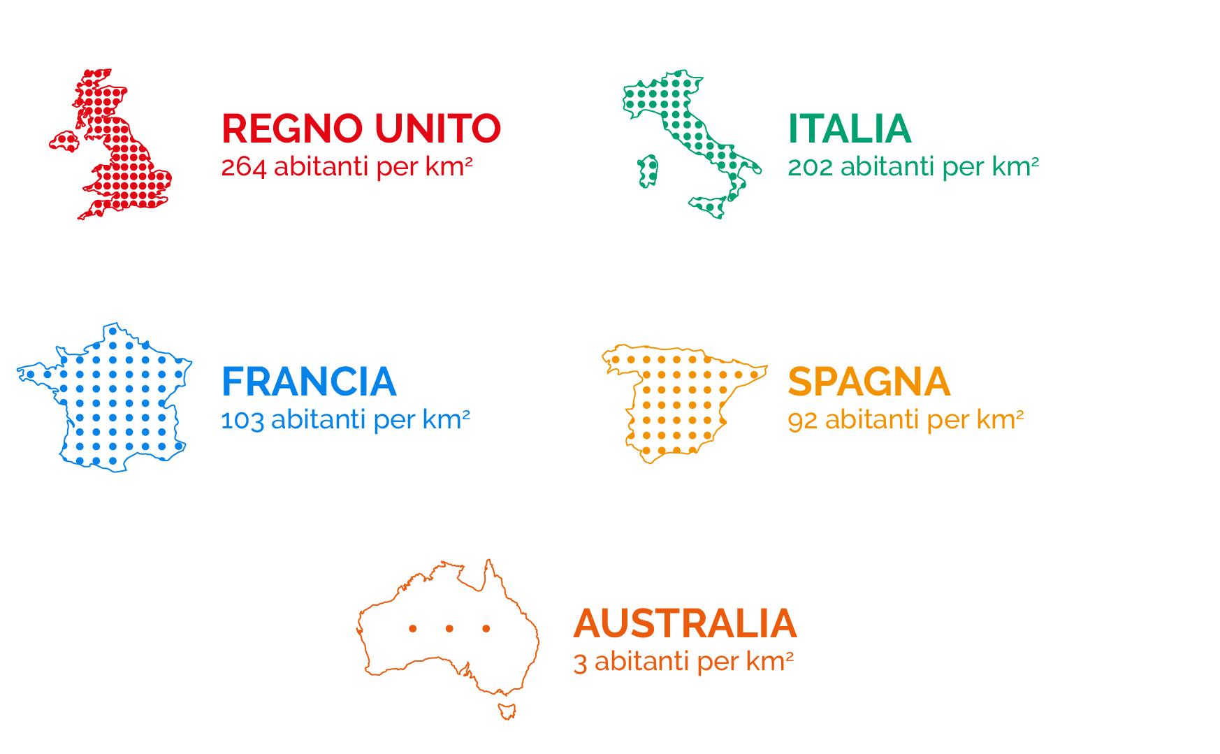 Mappa: Densità della popolazione australiana